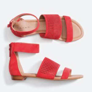 NWOT Tahari Dance Perforated Suede Sandals